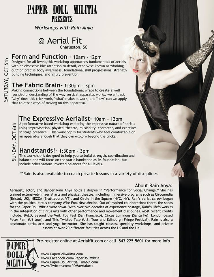Paper Doll Militia workshops at Aerial Fit